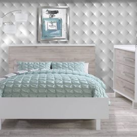 Urban Collection Bedroom with Double Bed and Dresser in White and Ash