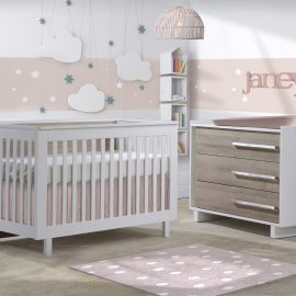 Urban Collection Baby Room with Crib and Dresser in White and Ash