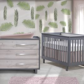 Urban Collection Baby Room with Crib and Dresser in Charcoal and White