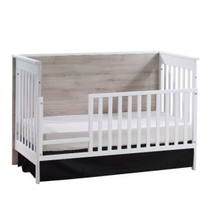 Urban Classic Crib as Daybed with Toddler Gate in White and Sand