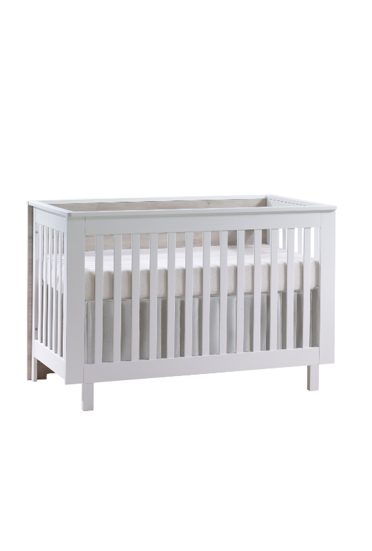 White Urban convertible crib with sand wood headboard