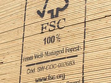 FSC certified wooden planks