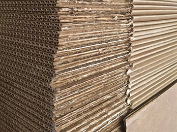Stack of recycled packaging cardboard