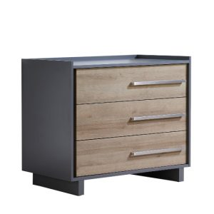Urban 3 drawer dresser in charcoal with natural wood facades