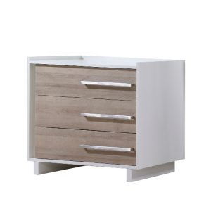Urban 3 drawer dresser in white with natural wood facades