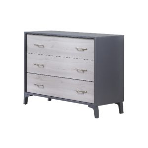 Charcoal dresser with 3 drawers in a white wood finish