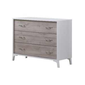 White Metro 3 drawer dresser with sand color wood facades