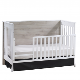 Metro Classic Crib as Daybed with Toddler Gate in White / Sand